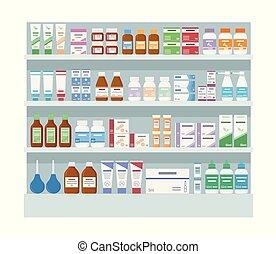 mensole, isolato, medicines., farmacia, grande, fondo., bianco, scaffale
