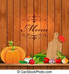 mensole, legno, verdura, disegno, fresco, tuo