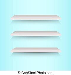 mensole libro, su, sfondo blu