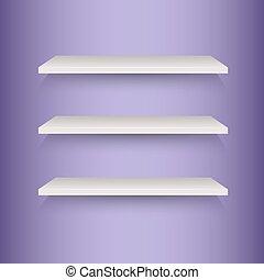mensole libro, su, viola, fondo