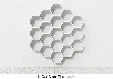 mensole, parete, parete, interpretazione, bianco, esagono, vuoto, 3d