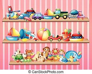 mensole, pieno, di, differente, giocattoli