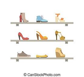 mensole, scarpe, moda, illustrazione, vettore, calzatura, femmina, interno, negozio