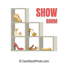 mensole, scarpe, mostra, illustrazione, vettore, calzatura, femmina, interno, sagoma, bandiera, negozio, stanza