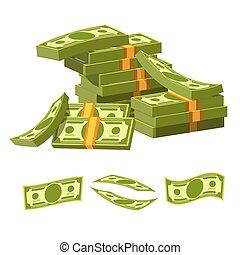 mensonge, argent, attaché, élastique, papier, tas, désordre