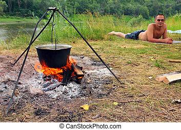 mensonge, bouilloire, -, touriste, camping
