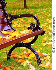 mensonge, feuilles, parc, jaune, banc, automne