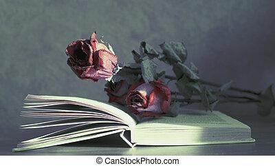 mensonge, fleurs, livre, séché