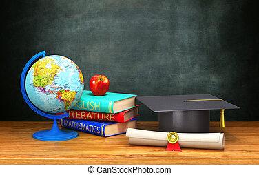 mensonge, globe, livres, pomme, casquette, illustration, universitaire, fond, board., table, diplôme, bois, 3d