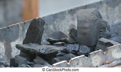 mensonge, gril, charbons, morceaux, grand, fumer