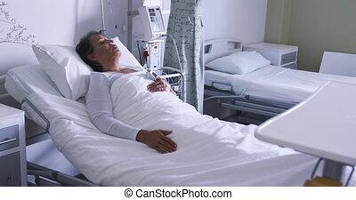 mensonge, hôpital, 4k, lit, femme