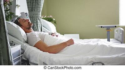 mensonge, hôpital, homme, 4k, lit