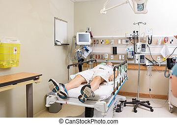 mensonge, hôpital, patient, salle, lit