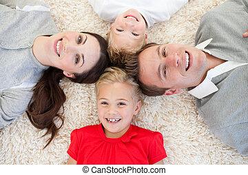 mensonge, joyeux, famille, plancher