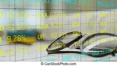 mensonge, lunettes, données, stockage, contre, marché, table, traitement