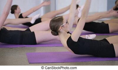 mensonge, nattes, danse, sports, violet, classe, exercice, femmes