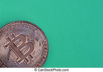mensonges, chocolat, modèle, vert, monnaie, formulaire, bitcoin, physique, arrière-plan., plastique, comestible, produit, crypto