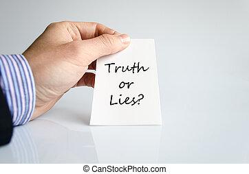 mensonges, concept, ou, vérité, texte