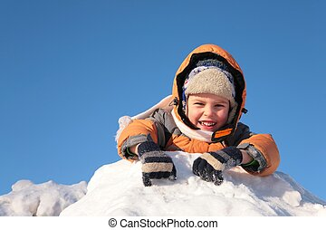 mensonges, enfant, colline, neige