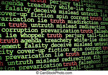 mensonges, vérité, entre