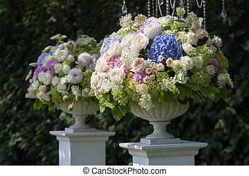 menstruáció, alatt, egy, váza, helyett, a, esküvő ünnepély