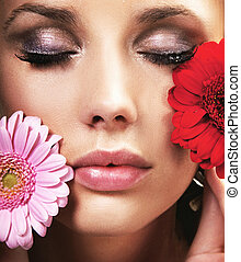 menstruáció, barna nő, szépség