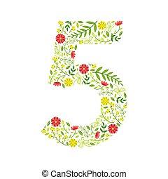 menstruáció, motívum, szám, elkészített, 5, ábra, vektor, zöld kilépő, virágos