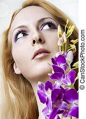 menstruáció, nő, closeup, szépség, arc