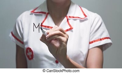 MENSTRUAL CYCLE, Female doctor writing on transparent screen