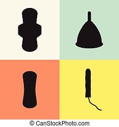 menstrual, set., tampão, almofada, copo