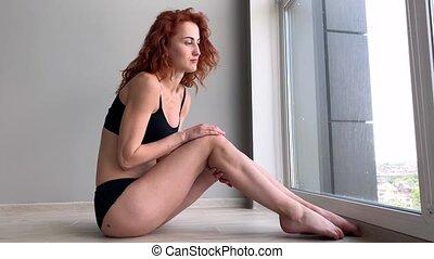 Menstruation pain. Woman body feeling abdominal pain. Illness spasm in body.