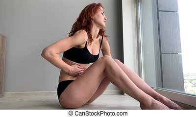 Menstruation pain. Woman body feeling abdominal pain....