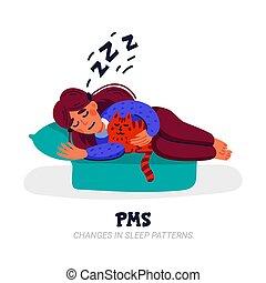 menstruel, ensemble, balance, dos, pendant, dépression, abdominal, humeur, pms., symptômes, divers, mal tête, femme, diarrhée, souffrance, tel, crampes, cycle, inférieur, acné, bloating, douleur