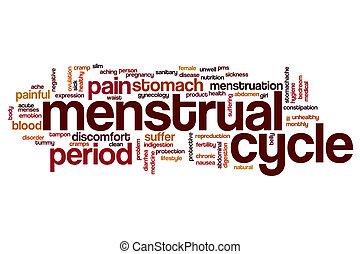 menstruel, mot, nuage, cycle