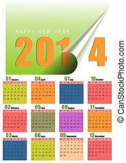 mensualmente, 2014, calendario, colorido