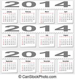 mensualmente,  2014, calendario, muy lleno