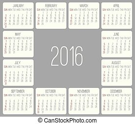 mensualmente, calendario, 2016, año