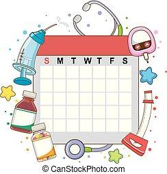 mensualmente, calendario, cheque, ilustración, arriba