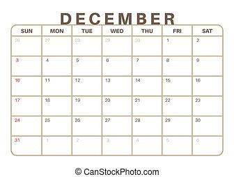 mensualmente, diciembre, calendario, 2017
