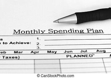 mensualmente, presupuesto, plan