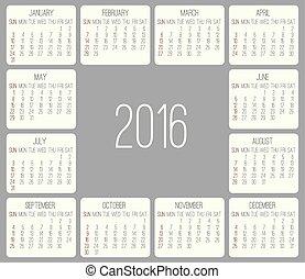 mensuel, année, 2016, calendrier