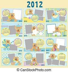 mensuel, baby\'s, calendrier, 2012
