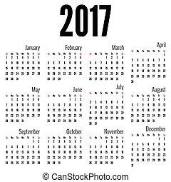 mensuel, calendrier, 2017
