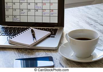 mensuel, calendrier, activités, vérification, ordinateur ...