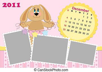mensuel, décembre, calendrier, bébé, 2011's