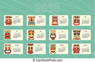 mensuel, masque tribal, tiki, 2018, calendrier