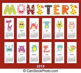 mensuel, mignon, calendrier, 2018, monstres