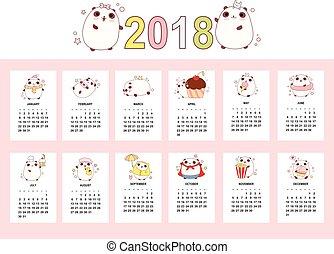 mensuel, mignon, calendrier, 2018, pandas