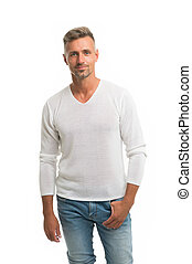Menswear and fashionable clothing. Man calm face posing confidently white background. Man looks handsome in casual shirt. Guy with bristle wear casual outfit. Fashion concept. Man model clothes shop