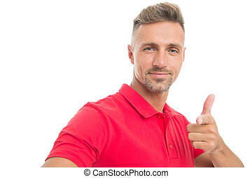 Menswear and fashionable clothing. Man calm face posing confidently white background. Man looks handsome in casual red shirt. Guy with bristle wear casual outfit. Natural beauty. Daily casual outfit